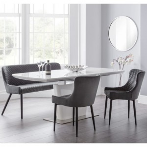 Como Extending White Gloss Dining Table With Luxe Grey Bench And 2 Chairs