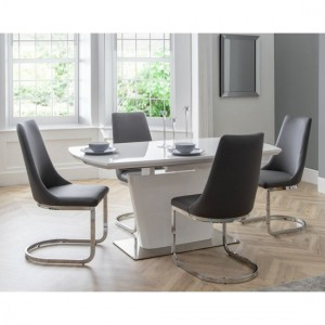 Como Wooden Dining Table In White High Gloss With 4 Chairs