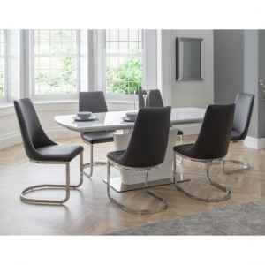 Como Wooden Dining Table In White High Gloss With 6 Chairs