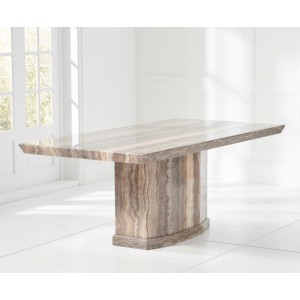 Carvelle Marble Large Dining Table Rectangular In Brown