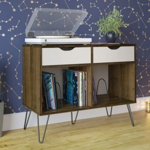 Concord Wooden Console Table In Brown Oak With With 2 Drawers