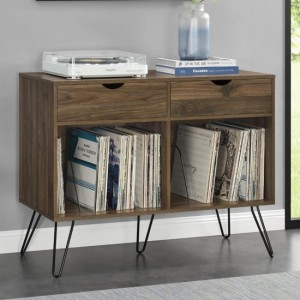 Concord Wooden Console Table In Walnut With With 2 Drawers