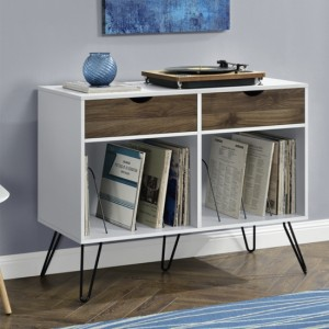 Concord Wooden Console Table In White And Oak With With 2 Drawers