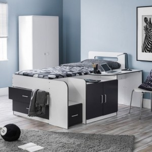 Cookie Wooden Cabin Bed In Matt White And Black