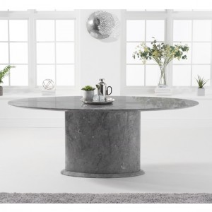 Cooper Oval Marble Dining Table In Grey