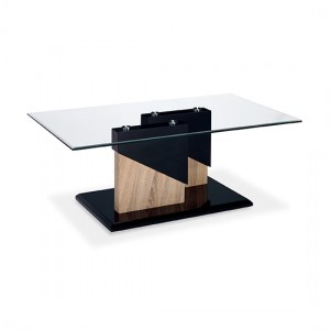 Coopers Glass Coffee Table With Black And Natural Wooden Base