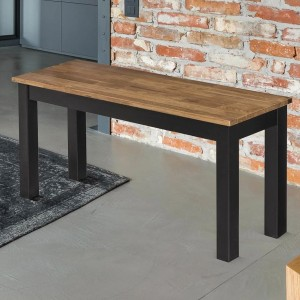 Copenhagen Wooden Dining Bench In Solid Oak And Black Frame