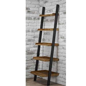 Copenhagen Wooden Ladder Shelf In Solid Oak And Black Frame