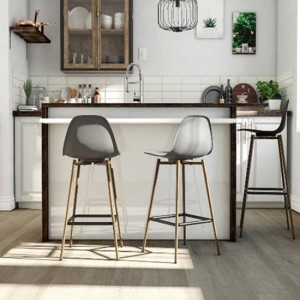 Copley Grey Plastic Bar Stools In Pair With Metal Legs