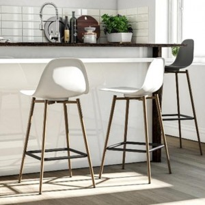 Copley White Plastic Bar Stools In Pair With Metal Legs
