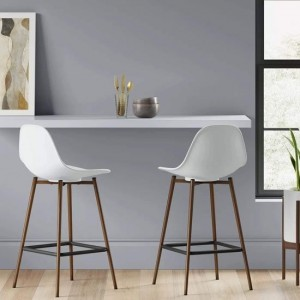 Copley White Plastic Counter Bar Stools In Pair