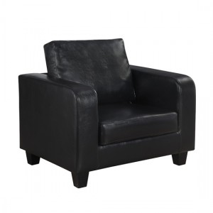 Cores Faux Leather 1 Seater Sofa In Black