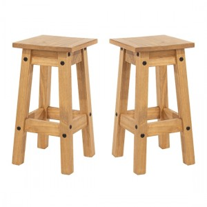 Corona Antique Wax Wooden Low Kitchen Stool In Pair