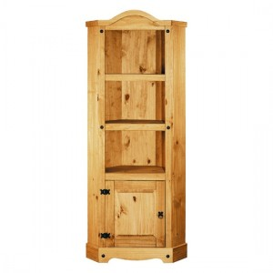 Corona Corner Shelving Unit In Distressed Pine With 1 Door And 2 Shelves