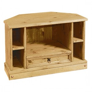 Corona Corner Wooden TV Stand In Distressed Pine With 1 Drawer