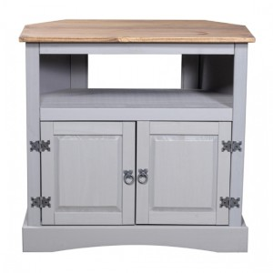 Corona Corner Wooden TV Stand In Grey With 2 Doors