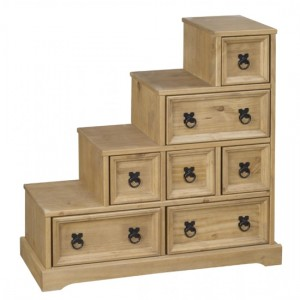 Corona DVD Staircase In Distressed Pine With 7 Drawers