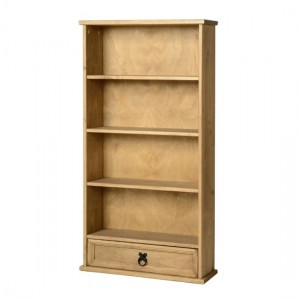Corona DVD Unit In Distressed Pine With 1 Drawer And 4 Shelves