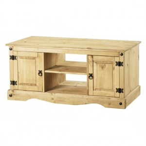 Corona Flatscreen TV Stand In Distressed Pine With 2 Doors And 1 Shelf