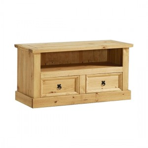 Corona Flatscreen TV Stand In Distressed Pine With 2 Drawers