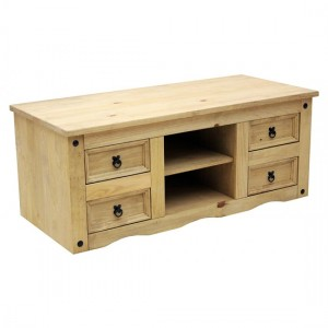 Corona Flatscreen TV Stand In Distressed Pine With 4 Drawers