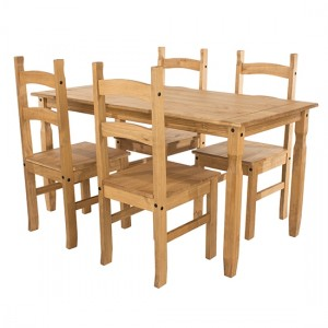 Corona Large Wooden Dining Table With 4 Chairs In Antique Wax