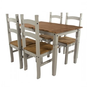 Corona Large Wooden Dining Table With 4 Chairs In Grey