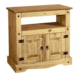 Corona Straight Wooden TV Stand In Distressed Pine With 2 Doors