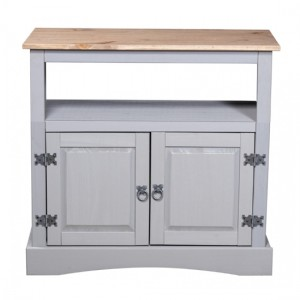 Corona Straight Wooden TV Stand In Grey With 2 Doors