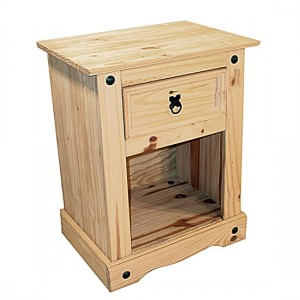 Corona Wooden Bedside Cabinet In Distressed Pine With 1 Drawer