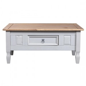 Corona Wooden Coffee Table In Grey And Distressed Pine