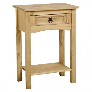 Corona Wooden Console Table In Distressed Pine With 1 Drawer And Shelf