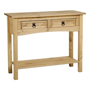 Corona Wooden Console Table In Distressed Pine With 2 Drawers And Shelf