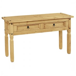 Corona Wooden Console Table In Distressed Pine