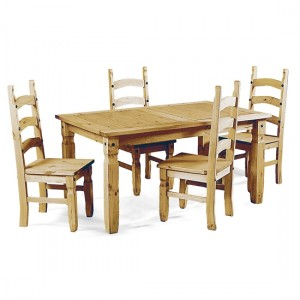 Corona Wooden Dining Set In Light Pine With 4 Chairs