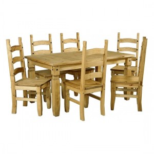Corona Wooden Dining Set In Light Pine With 6 Chairs