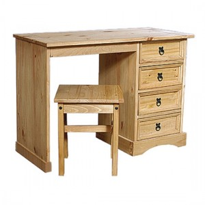 Corona Wooden Dressing Set In Light Pine With 4 Drawers And Stool