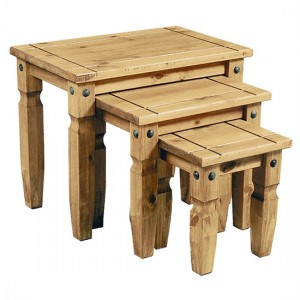 Corona Wooden Nest Of Tables In Distressed Pine