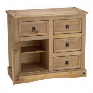 Corona Wooden Sideboard In Distressed Pine With 1 Doors And 4 Drawers