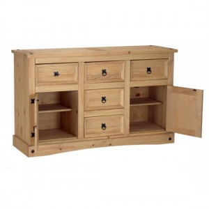 Corona Wooden Sideboard In Distressed Pine With 2 Doors And 5 Drawers