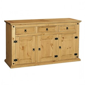 Corona Wooden Sideboard In Distressed Pine With 3 Doors And 3 Drawers