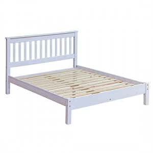Corona Wooden Slatted Lowend Double Bed In White