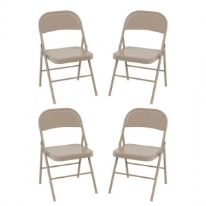 Cosco All Steel Set Of 4 Folding Chairs In Antique Linen