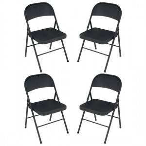 Cosco All Steel Set Of 4 Folding Chairs In Black