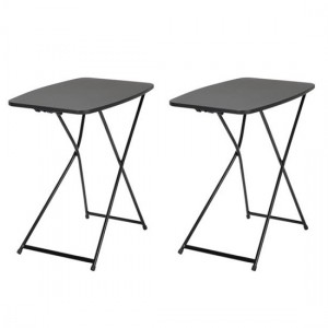 Cosco Black Adjustable Folding Bistro Table In Pair