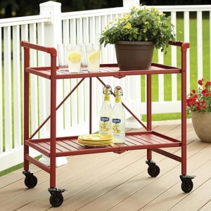 Cosco Intellifit Folding Drinks Trolley In Ruby Red With 2 Shelves