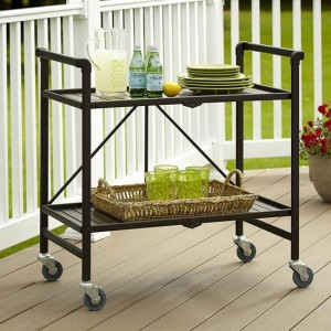 Cosco Intellifit Folding Drinks Trolley In Sandy Brown With 2 Shelves