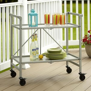 Cosco Intellifit Folding Drinks Trolley In Silver With 2 Shelves