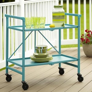 Cosco Intellifit Folding Drinks Trolley In Teal With 2 Shelves