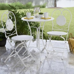 Cosco Intellifit Steel Set Of 3 Small Space Bistro Set In White